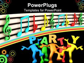 PowerPoint template displaying 3D depiction of multi colored figures in a party themed background