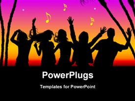 PowerPoint template displaying party theme , silhouette dancing with trees and multi colors