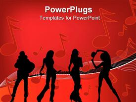 PowerPoint template displaying a number of dancers with music signs in the background
