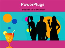 PowerPoint template displaying party theme , having drinks and music , with colorful bubbles