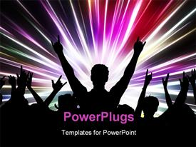 PowerPoint template displaying silhouette of an excited audience on abstract light background