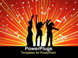 PowerPoint template displaying silhouettes of females dancing on a starry background