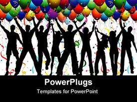 Silhouettes of people dancing on a background with balloons, streamers and confetti template for powerpoint
