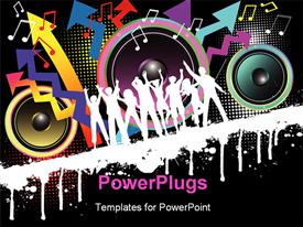 PowerPoint template displaying party theme , with silhouettes dancing with speakers