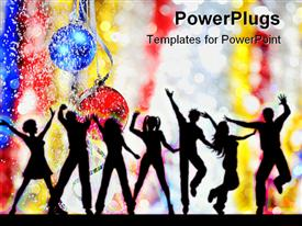 PowerPoint template displaying silhouettes of people dancing on a grunge background