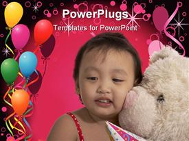 Teddy bear with a child over the balloons powerpoint theme