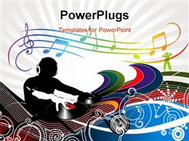 PowerPoint template displaying abstract depiction of an dj man playing tunes with music wave background