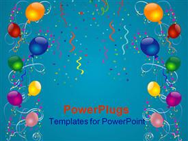 Balloons ribbons stars and confetti over blue- background presentation background