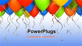 Party balloons background holiday 3D rendering powerpoint design layout