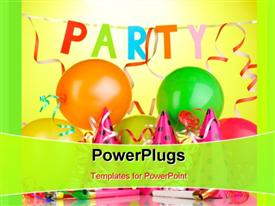 PowerPoint template displaying party theme , having balloons with lights and colors
