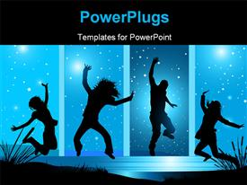 PowerPoint template displaying people dancing with happiness , with blue sky and stars