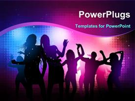 PowerPoint template displaying group of people dancing and partying with colors glowing