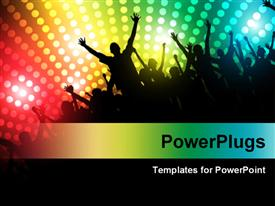 PowerPoint template displaying people dancing and partying with multi color disco lights