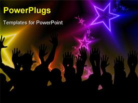 PowerPoint template displaying group of people partying at disco with stars and effects