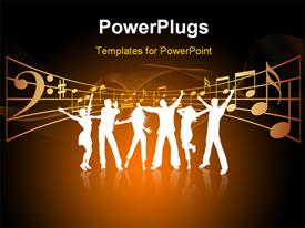 PowerPoint template displaying party theme , silhouettes of people dancing with the musical signs
