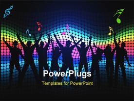 PowerPoint template displaying silhouettes of people dancing on a spectrum colored background