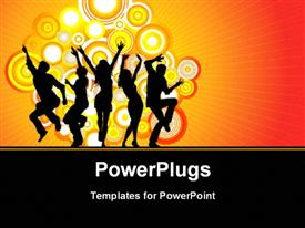 PowerPoint template displaying people dancing together with vector shapes