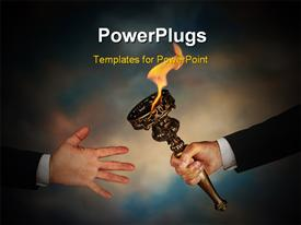 PowerPoint template displaying businessman's outstretched arm passing a flaming torch to another businessman's open hand in the background.