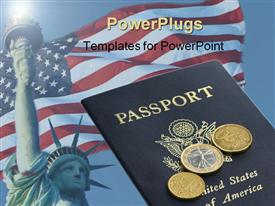 American passport with Euros on top template for powerpoint