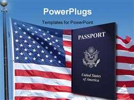 PowerPoint template displaying american passport with highlights and American flag with blue color