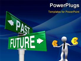 PowerPoint template displaying businessman balancing euro with past and future sign post, blue curves