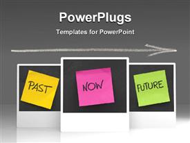 PowerPoint template displaying time concept, with colorful sticky notes of past , present , future with blackboard