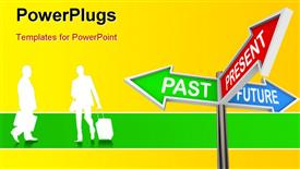 PowerPoint template displaying time concept , using sign post and humanoids having yellow colour