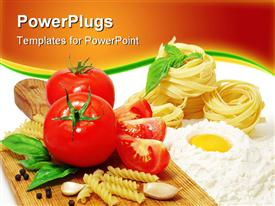 PowerPoint template displaying nice fresh pasta ingredients in the background.