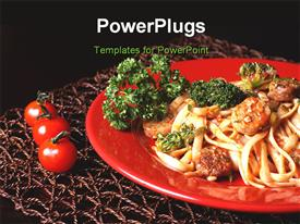Pasta with sausages and broccoli in red plate powerpoint design layout
