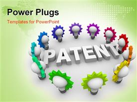 The word Patent surrounded by many colorful light bulbs presentation background