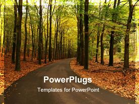 PowerPoint template displaying road curving through forest with fall autumn foliage
