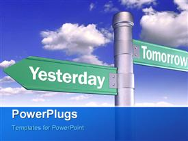 PowerPoint template displaying time concept using sign boards of yesterday and tomorrow with sky