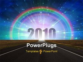 PowerPoint template displaying road to new year 2010 , with rainbow and bright sky