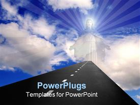 PowerPoint template displaying sun is shining bright among the blue sky in the background.