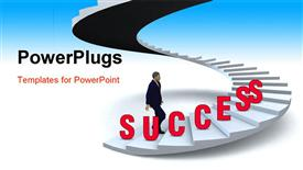 PowerPoint template displaying businessman walking upstairs the success staircase in the background.