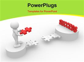 PowerPoint template displaying person holding last jigsaw puzzle to reach success with white color
