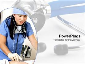 PowerPoint template displaying nurse hospital worker with stethoscope and scrubs cares for patient