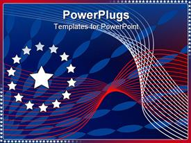PowerPoint template displaying red, white, and blue abstract stars and stripes