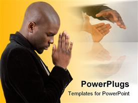 PowerPoint template displaying businessman praying for success in the background.