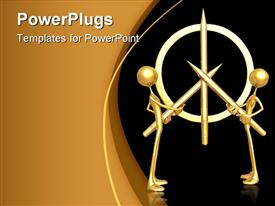 PowerPoint template displaying two 3D men holding golden pencils to form a symbol on black background