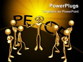 PowerPoint template displaying animated depiction of golden colored human figures on a brown background
