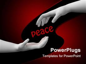 PowerPoint template displaying two hand coming together for a hand shake and a text which spells out the word