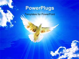 Dove in the air with wings wide open in-front of the sun powerpoint theme
