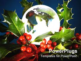PowerPoint template displaying transparent glass christmas ornament with leaves and some berries