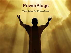 PowerPoint template displaying man holding arms up in praise against a sunburst in the background.