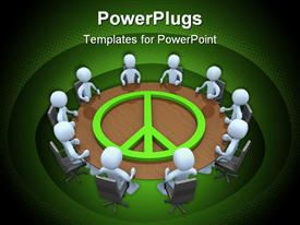 PowerPoint template displaying meeting room with the symbol of peace on it