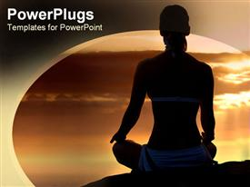 PowerPoint template displaying a girl in a yoga position with clouds  in the background