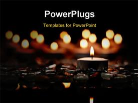 PowerPoint template displaying peace and Serenity Conceptual Depiction With Candles and Stones