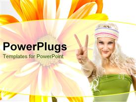 PowerPoint template displaying a pretty blond lady with a big yellow flower behind