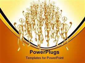 PowerPoint template displaying lots of gold colored 3D human characters walking together